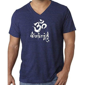 Mens Om Mani Padme Hum V-neck Tee - Yoga Clothing for You - 10