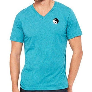 Mens Yin Yang Patch V-neck Tee Shirt - Pocket Print - Yoga Clothing for You - 15