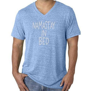Mens Namast'ay in Bed V-neck Tee Shirt - Yoga Clothing for You - 4