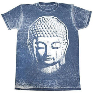 Mens Acid Wash Tee Shirt - Big Buddha Head - Yoga Clothing for You - 1