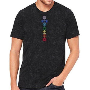 Mens 7 Colored Chakras Marble Tee Shirt - Yoga Clothing for You - 2