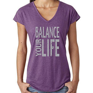 "Womens ""Balance"" V-neck Yoga Tee Shirt - Yoga Clothing for You - 1"