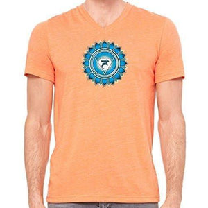 "Mens ""Vishuddha Chakra"" V-neck Tee Shirt - Yoga Clothing for You - 13"
