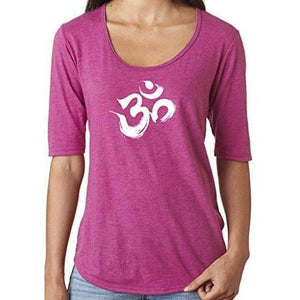 Ladies Brushed OM Scoop Neck Tee Shirt - Yoga Clothing for You
