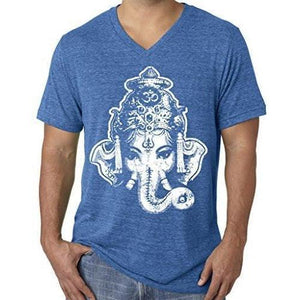 Mens Big Ganesha V-neck Tee Shirt - Yoga Clothing for You - 13