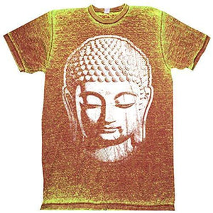 Mens Acid Wash Tee Shirt - Big Buddha Head - Yoga Clothing for You - 5