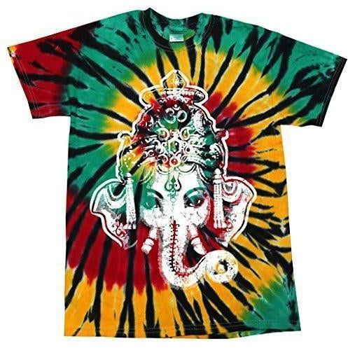 Mens Big Ganesha Tie Dye Tshirt - Yoga Clothing for You