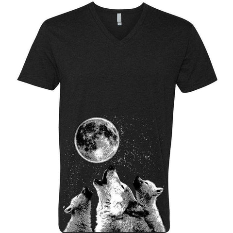 Yoga Clothing for You Mens 3 Wolf Moon Fitted V-neck Tee Shirt - Black - Yoga Clothing for You