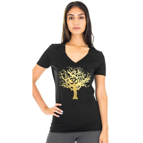 Yoga Clothing for You Womens Gold Tree of Life Hemp V-neck Tee Shirt - Yoga Clothing for You