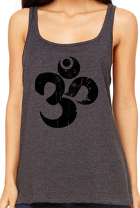 Womens Relaxed Distressed Om Tank Top