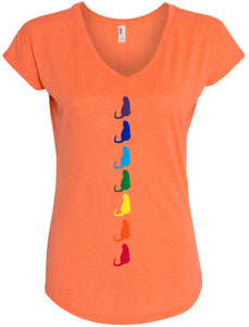 Yoga Clothing For You Womens Chakra Cats Vee Neck T-shirt