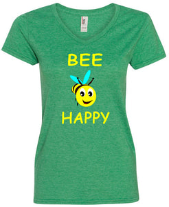 Yoga Clothing For You Ladie's Bee Happy V-Neck T-Shirt