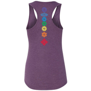 Womens Floral Chakras Racer-back Tank Top - Back Print - Yoga Clothing for You - 2