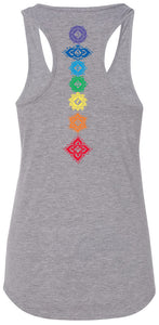 Womens Floral Chakras Racer-back Tank Top - Back Print