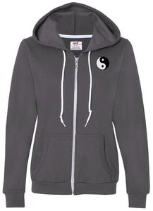 Womens Yin Yang Patch Full Zip Hoodie - Pocket Print