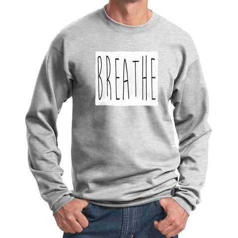 "Yoga Clothing for You Mens ""Breathe"" Yoga Sweat Shirt - Ash Grey - Yoga Clothing for You"
