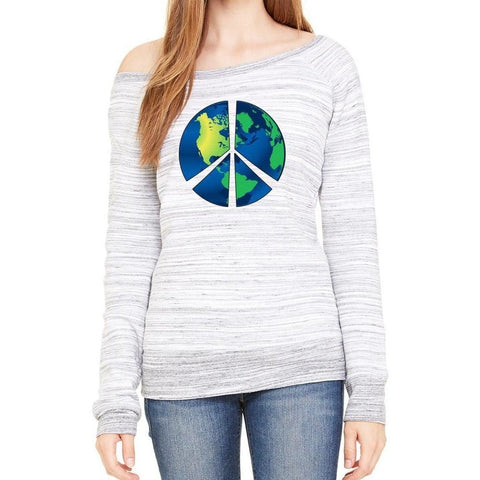 Yoga Clothing for You Womens Blue Earth Wide Neck Sweatshirt - Light Grey Marble - Yoga Clothing for You