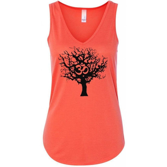 Ladies Tree of Life Flowy V-Neck Yoga Tank Top - Yoga Clothing for You - 1