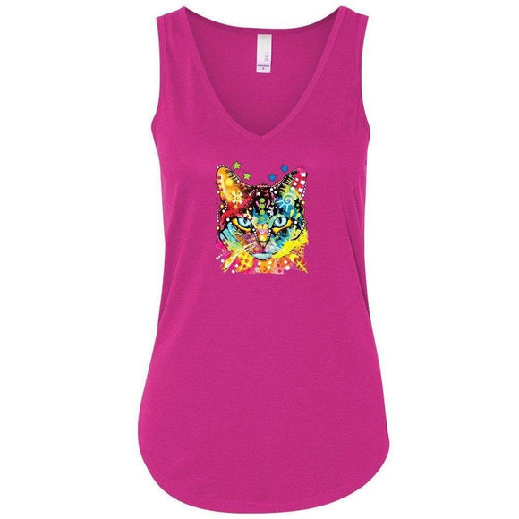 Womens Cat Portrait Flowy Tanktop - Yoga Clothing for You - 1