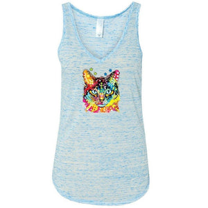 Womens Cat Portrait Flowy Tanktop - Yoga Clothing for You - 3