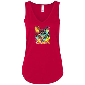 Womens Cat Portrait Flowy Tanktop - Yoga Clothing for You - 7