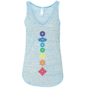 Ladies Floral 7 Chakras Flowy Tank Top - Yoga Clothing for You