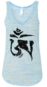 Womens Tibet OM White Marble Tank Top