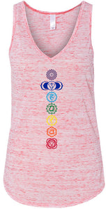 Womens Colored Chakras Flowy V-Neck Tank Top