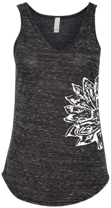 Womens Sketch Lotus Flowy Tank - Side Print