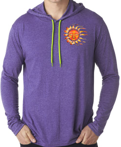 Mens Sleeping Sun Hoodie Tee Shirt - Pocket Print