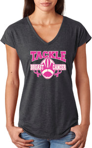 Ladies Breast Cancer T-shirt Tackle Cancer Triblend V-Neck