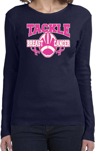 Ladies Breast Cancer T-shirt Tackle Cancer Long Sleeve