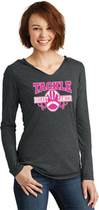 Ladies Breast Cancer T-shirt Tackle Cancer Tri Blend Hoodie