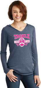 Buy Cool Shirts Ladies Breast Cancer T-shirt Tackle Cancer Tri Blend Hoodie