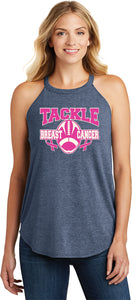 Ladies Breast Cancer Tank Top Tackle Cancer Tri Rocker Tanktop
