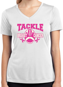 Ladies Breast Cancer T-shirt Tackle Cancer Dry Wicking V-Neck