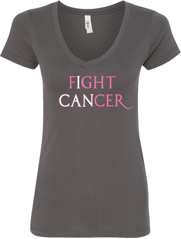 Ladies Breast Cancer T-shirt I Can Fight Cancer V-Neck