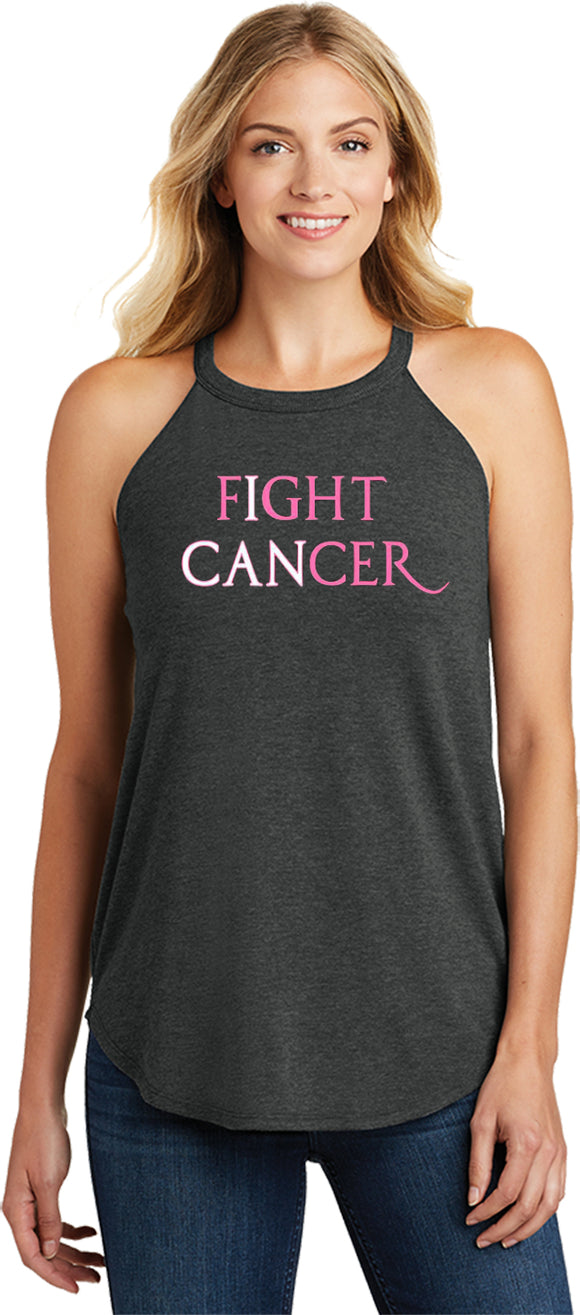Ladies Breast Cancer Tank Top I Can Fight Cancer Tri Rocker Tank