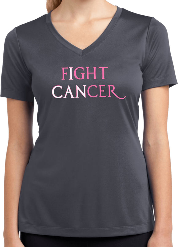 Ladies Breast Cancer Shirt I Can Fight Cancer Dry Wicking V-Neck