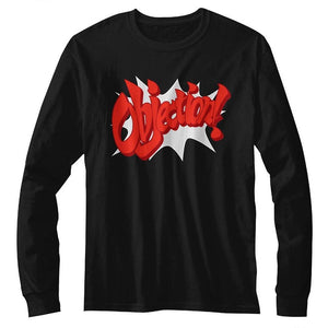 Ace Attorney Phoenix Wright Objection! Gaming Black Long Sleeve Shirt