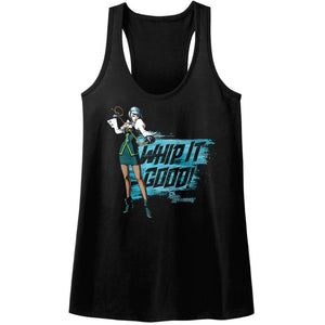 Ace Attorney Franziska Whip It Good Gaming Ladies Racerback Black Tank Top