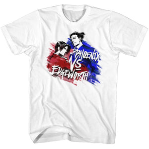 Ace Attorney Phoenix VS Edgeworth Gaming Adult White Tall Shirt