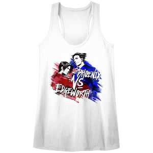 Ace Attorney Phoenix VS Edgeworth Ladies Racerback White Tank Top
