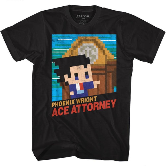 Ace Attorney T-Shirt Phoenix Wright 8 Bit Cover Black Tee