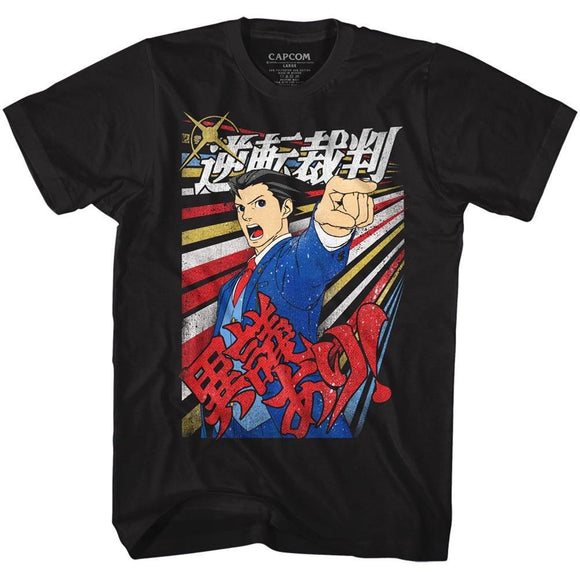 Ace Attorney T-Shirt Phoenix Wright Igiari Black Tee