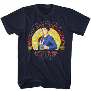 Ace Attorney T-Shirt Wright Anything Agency Law Firm Navy Tee