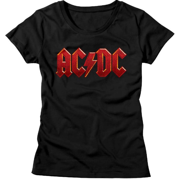 AC/DC Ladies T-Shirt Distressed Red Logo Black Tee
