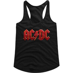 AC/DC Ladies Racerback Tanktop Distressed Red Logo Black Tank