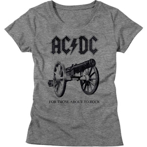 AC/DC Ladies T-Shirt For Those About To Rock Grey Heather Tee