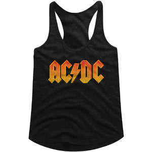 AC/DC Ladies Racerback Tanktop Distressed Orange Logo Black Tank